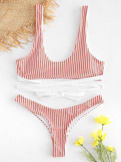 Striped High Leg Padded Bikini - Red M