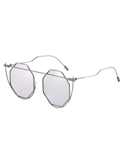 Cadre irrégulier Rhombus Lens Nouveauté Lunettes de soleil - Gris argenté  Mobile