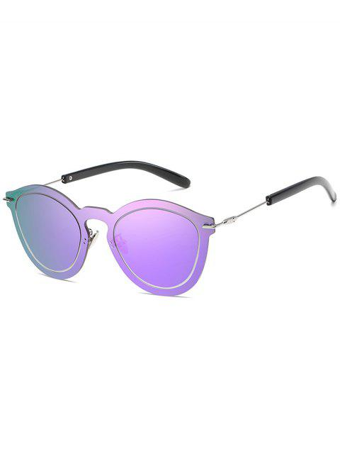 affordable Novelty Rimless One Piece Sunglasses - PURPLE FLOWER  Mobile