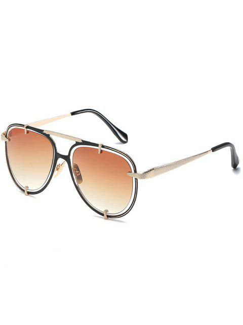 womens Hollow Out Frame Crossbar Pilot Sunglasses - TAN  Mobile