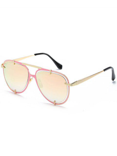 women's Hollow Out Frame Crossbar Pilot Sunglasses - PINK ROSE  Mobile