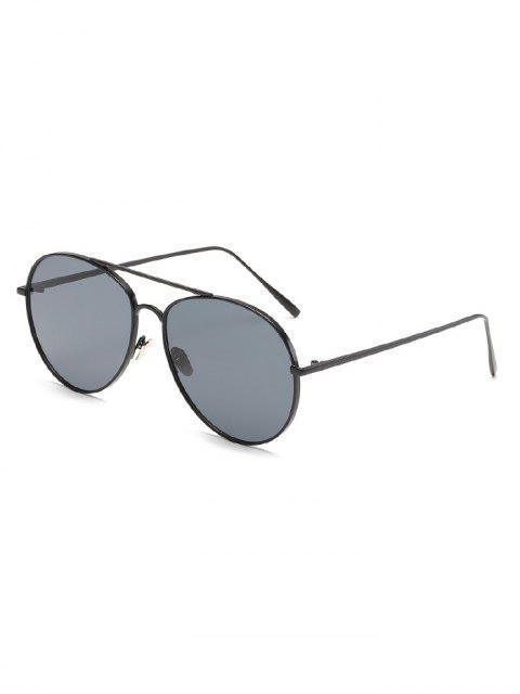 Vintage Metallrahmen flache Objektiv Sonnenbrille - Schwarz  Mobile