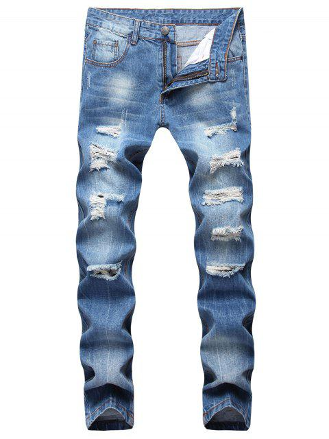 lady Moul Style Ripped Straight Jeans - WINDOWS BLUE 38 Mobile
