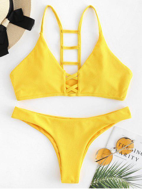 Conjunto de bikini acanalado recortado en escalera - Caucho Ducky Amarillo S Mobile