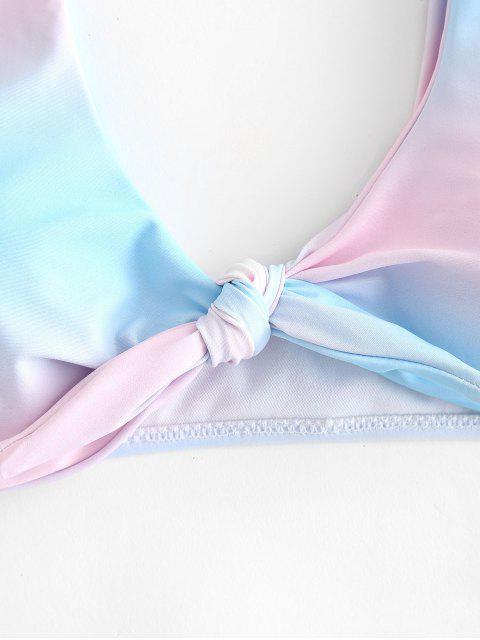 chic Ombre Tie Front Bikini Set - MULTI L Mobile