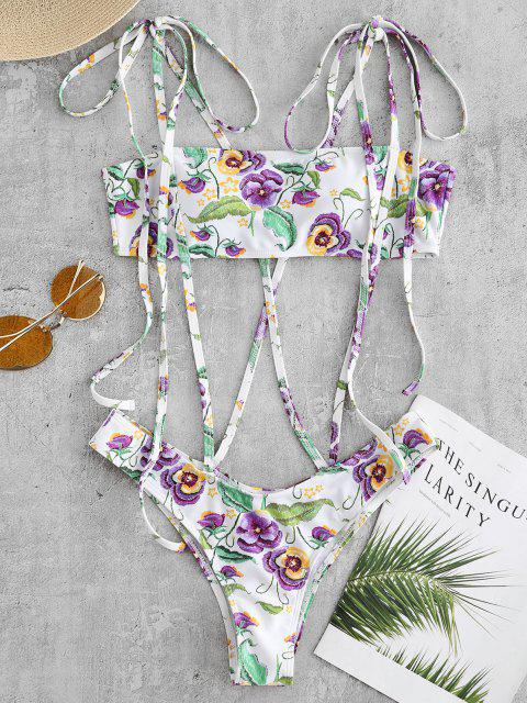 best Flower Strappy One Piece Swimsuit - WHITE L Mobile