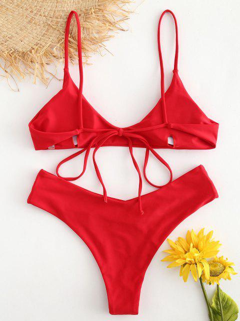 online ZAFUL Slip High Leg Bikini Set - LAVA RED L Mobile
