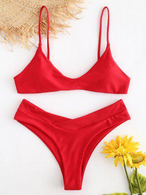 Slip High Leg Bikini Set - Lava Red M