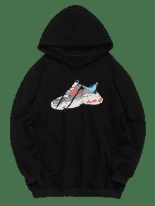 Sudadera Bolsillo L Con Con Sneaker Print Negro Letter Capucha Y7WyYrBcqR