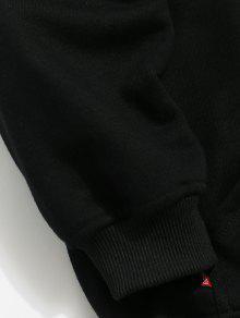 Negro L Bolsillo Capucha Con Print Sneaker Con Letter Sudadera nHqw860v