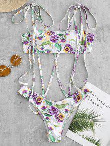 زهرة Strappy قطعة واحدة ملابس السباحة - أبيض L