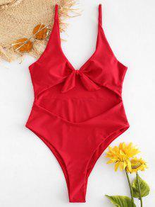 Tie Front Cutout High Leg Swimsuit - الحمم الحمراء S