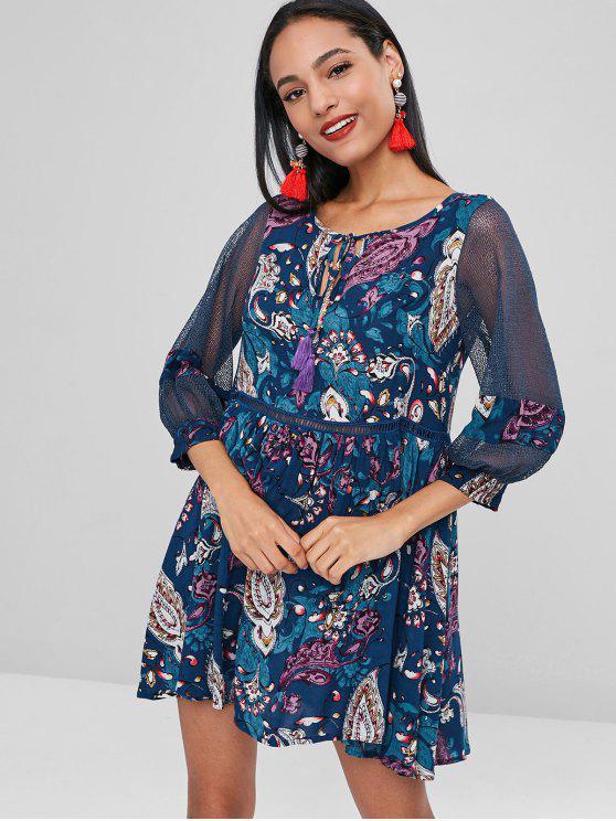 ladies Sheer Printed Bohemian Mini Dress - MULTI S