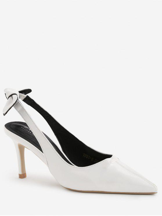 Stiletto Heel Bowknot Leisure Pumps - Blanco 39