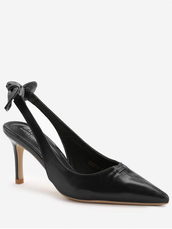 ladies Stiletto Heel Bowknot Leisure Pumps - BLACK 38