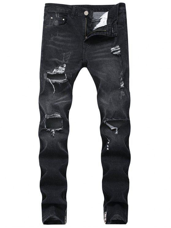 Jeans rasgados com zíper lateral - Preto 38