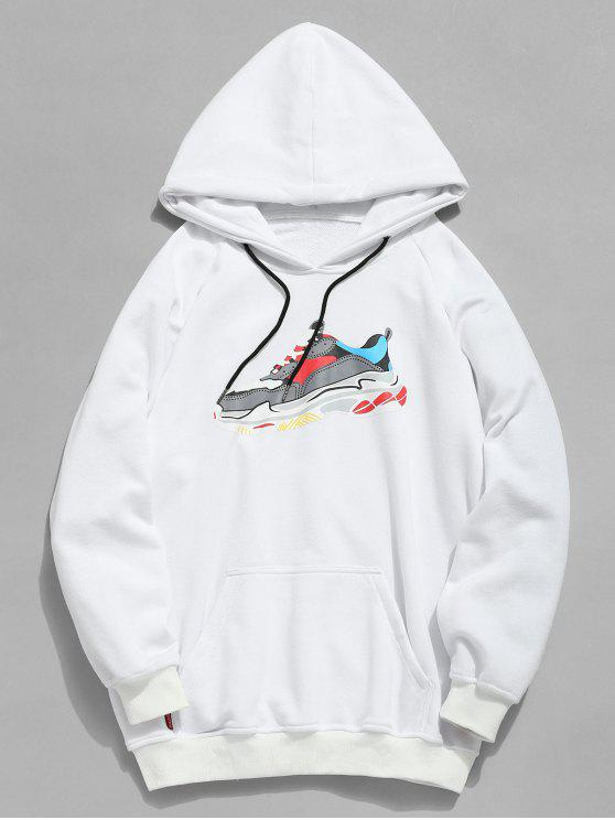 lady Letter Sneaker Print Pocket Hoodie - WHITE L