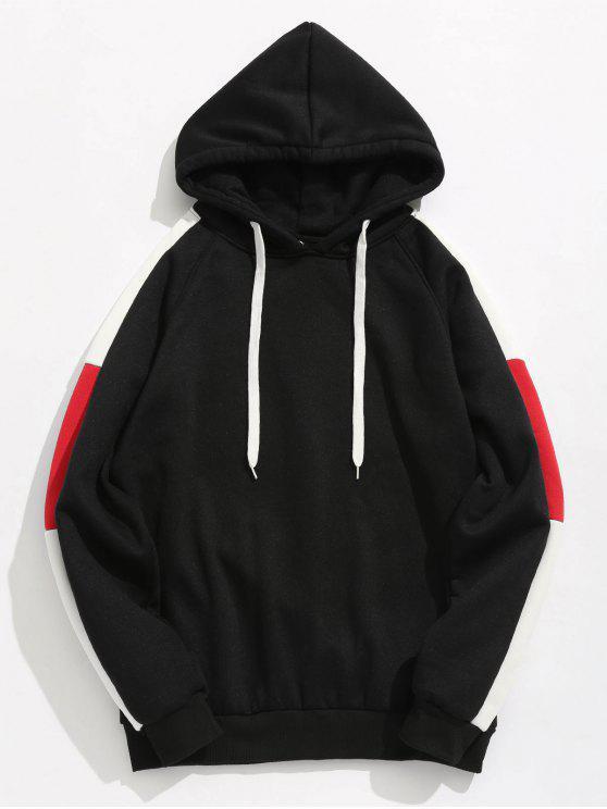 latest Side Stripes Patch Fleece Hoodie - BLACK S