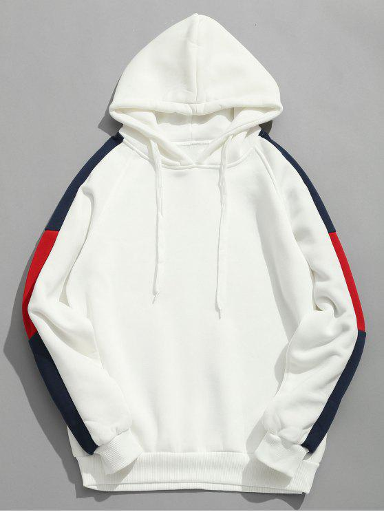 chic Side Stripes Patch Fleece Hoodie - WHITE M