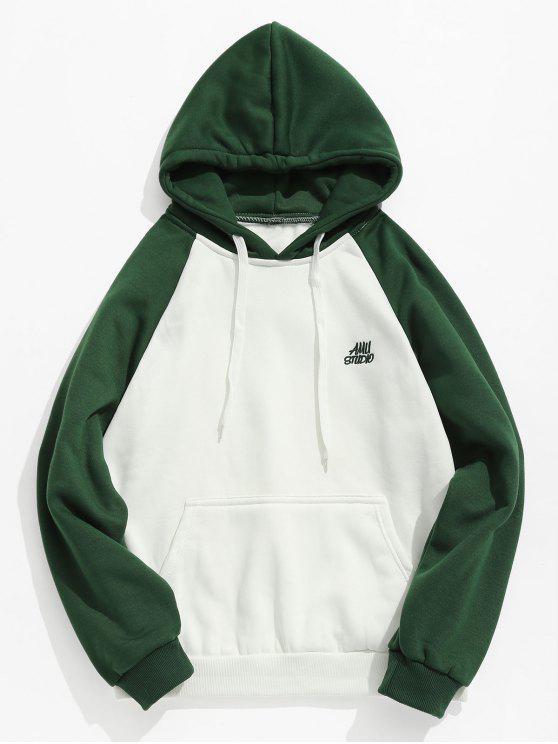 Zweifarbiger Taschen Vlies Hoodie - Grün S
