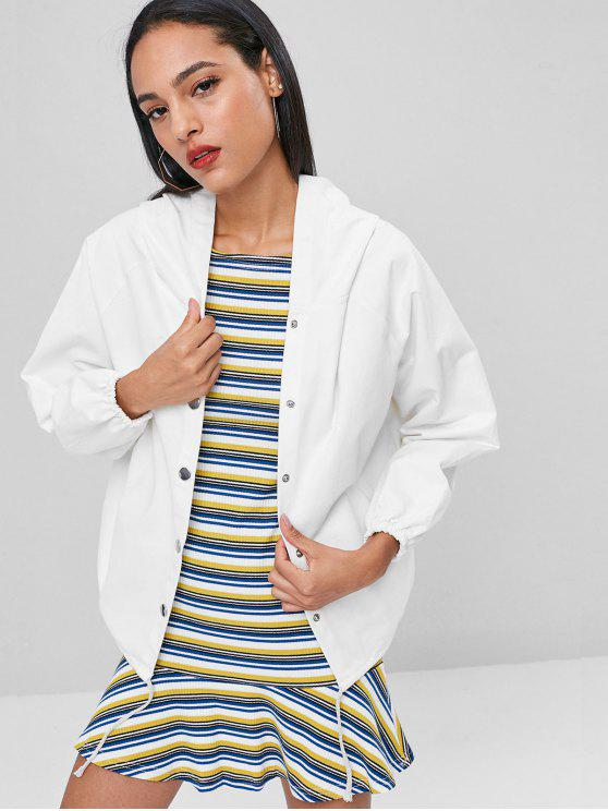chic Hooded Graphic Back Twill Jacket - WHITE ONE SIZE