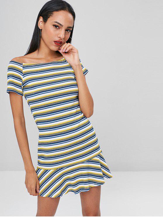 قبالة الكتف فستان مقلم مضلع - متعدد XL