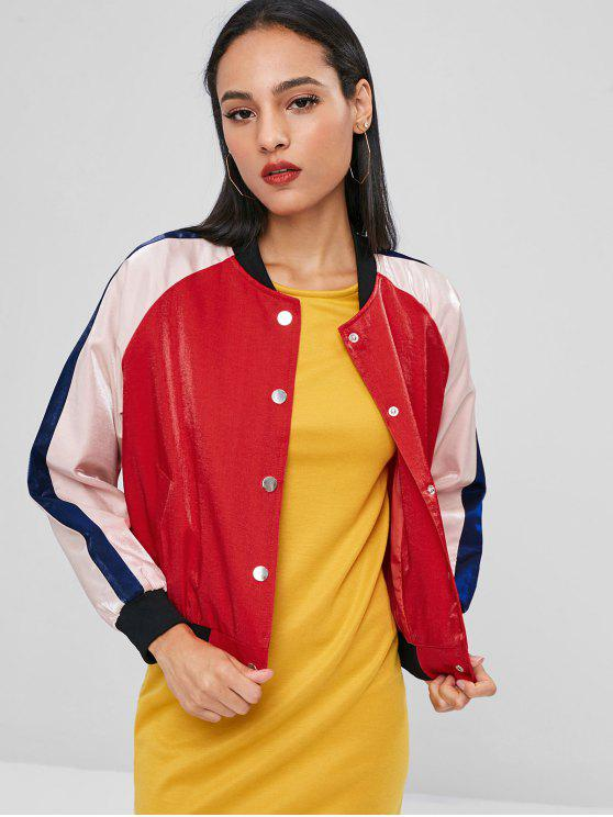 best Snap Button Three Tone Jacket - RED L