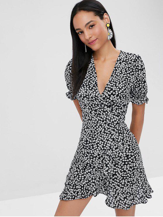 Mini vestido de envoltura de estampado floral - Negro L