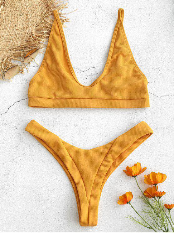 women Ribbed Bralette High Cut Bikini Set - GOLDEN BROWN M