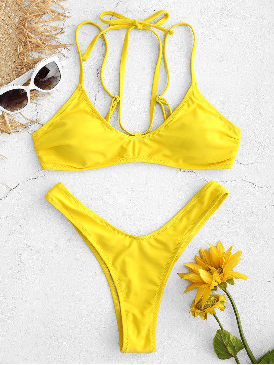 women's High Cut Thong Bikini Set - YELLOW S