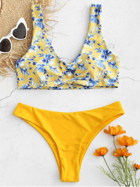 women Knot Floral Plunge Tank Bikini Set - CORN YELLOW M