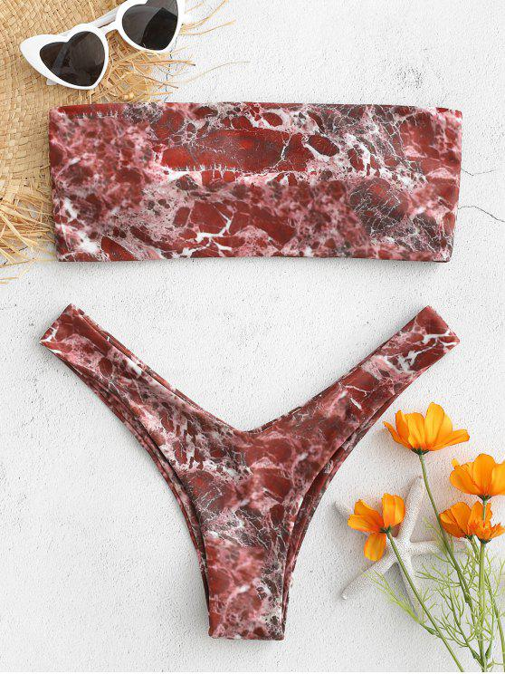 new Marble Print Bandeau Bikini - RED FOX M