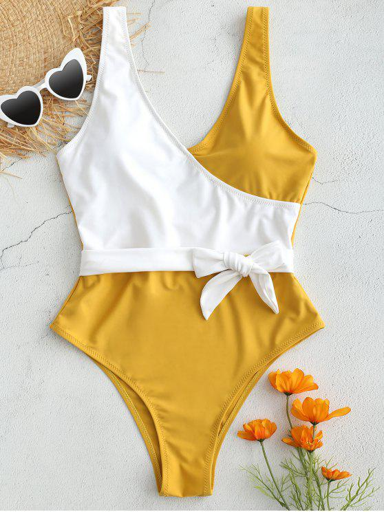 fancy High Cut Two Tone Backless Swimsuit - GOLDEN BROWN M