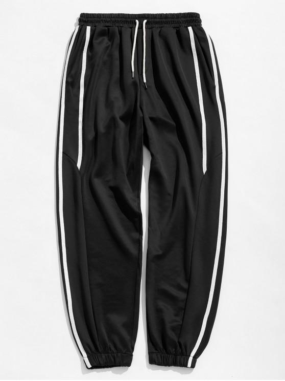 sale Casual Side Striped Sports Jogger Pants - BLACK L