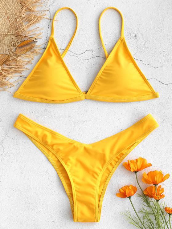 women's Padded Bikini Top with Thong Bottoms - YELLOW M
