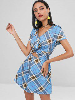 Twisted Tartan Wide Leg Romper - Blue