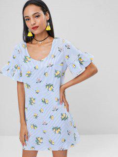 Lemons Striped Shift Dress - Light Sky Blue M