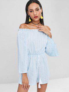 Off Shoulder Tassels Striped Romper - Sea Blue M