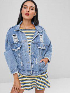 Frayed Ripped Denim Jacket - Denim Blue Xl