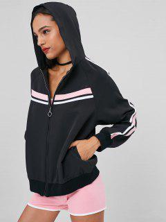 Zip Up Stripes Hooded Track Jacket - Black S