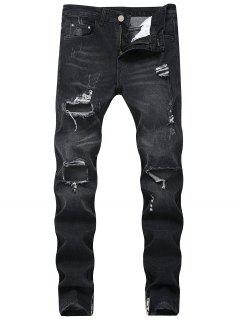 Ripped Hole Side Zipper Jeans - Black 32