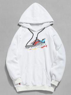 Letter Sneaker Print Pocket Hoodie - White M