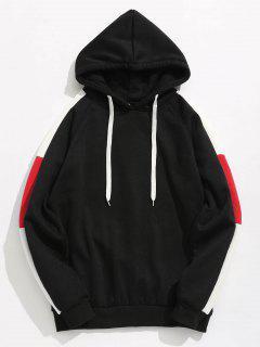 Side Stripes Patch Fleece Hoodie - Black L