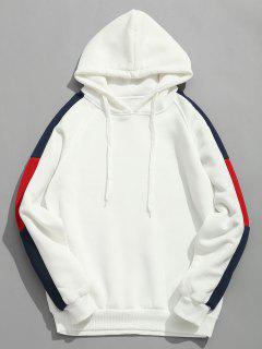 Side Stripes Patch Polar Sudadera Con Capucha - Blanco L