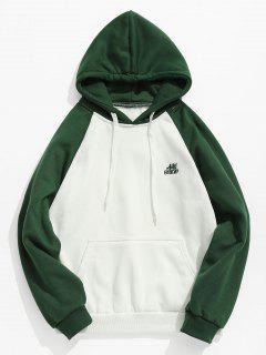 Two Tone Pocket Fleece Hoodie - Green L