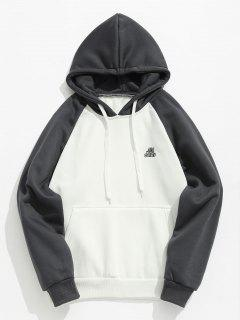 Two Tone Pocket Fleece Hoodie - Gray M