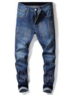 Embroidery Letters Skinny Jeans - Denim Dark Blue 32