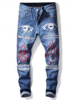 Ripped Detail Graphic Embroidered Jeans - Royal Blue 32