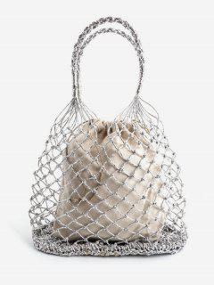 Holiday Bucket Hollow Out Tote Bag - Platinum