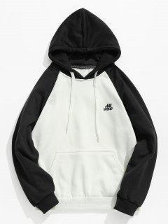Zweifarbiger Taschen Vlies Hoodie - Schwarz Xs